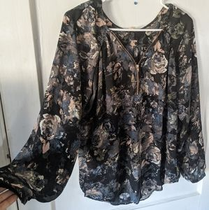 Floral Blouse with Rose Gold Zipper